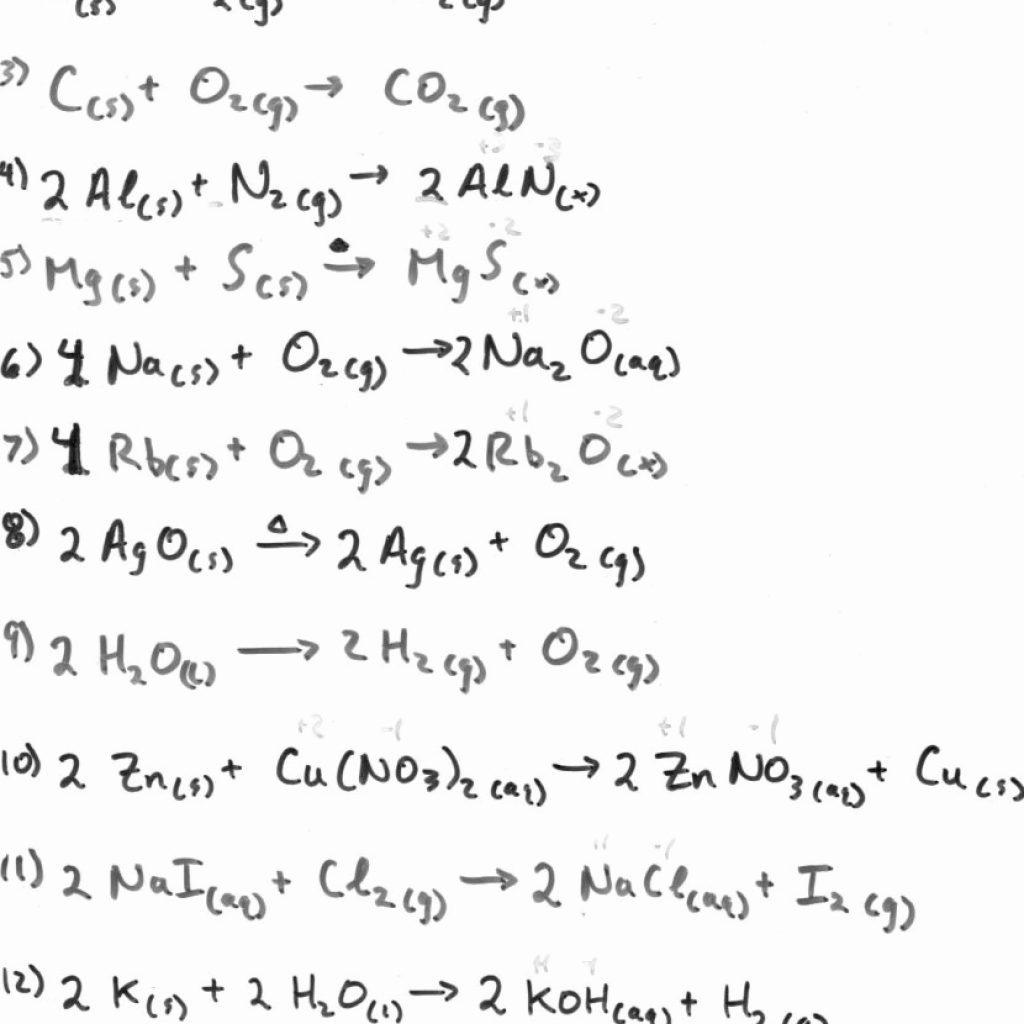 Worksheet Balancing Equations Practice Worksheet Balancing