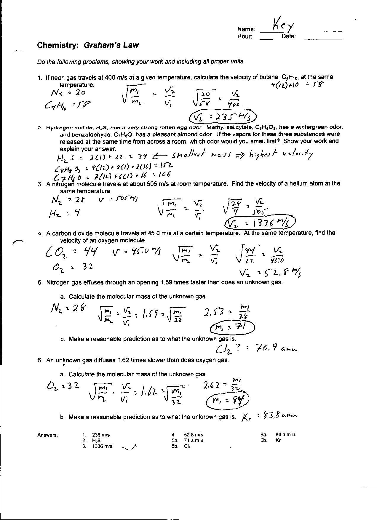 Boyle039s Law And Charles Law Worksheet Answer Key
