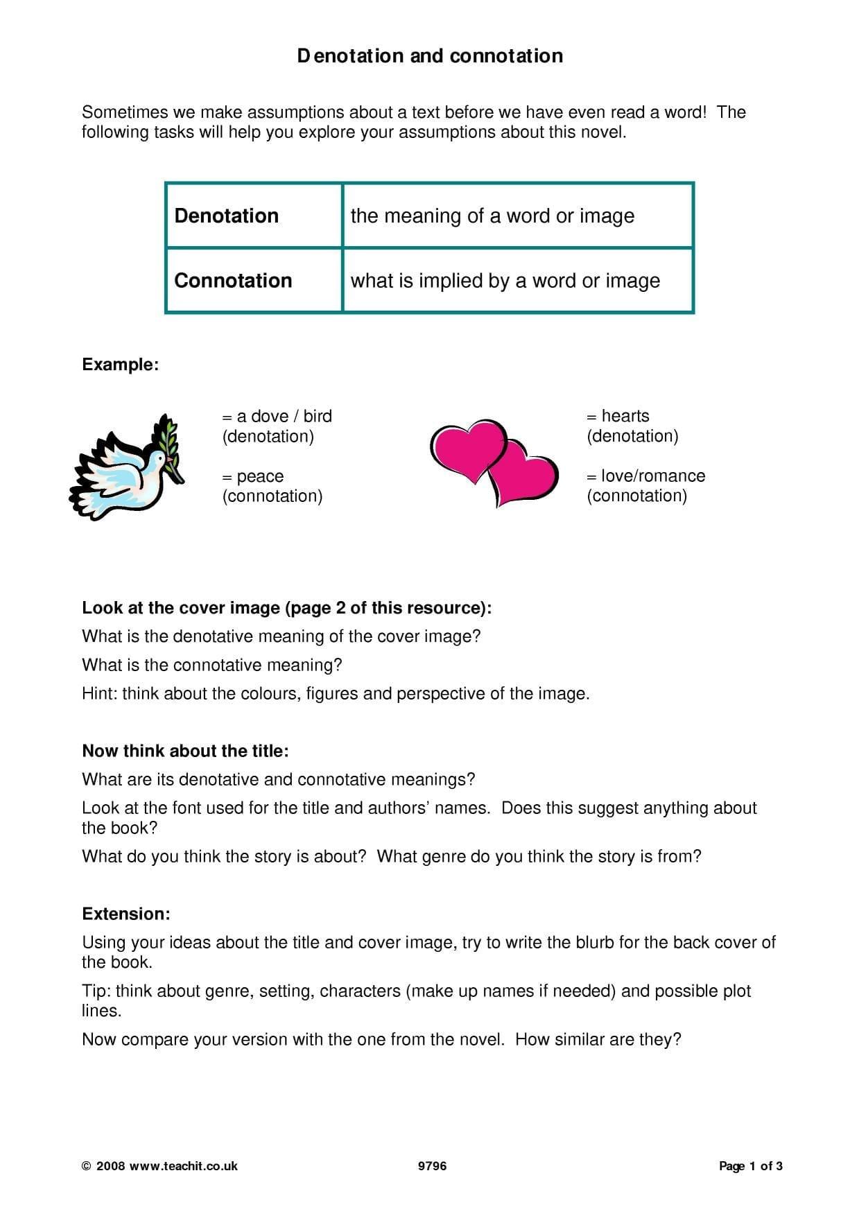 Worksheet Connotation And Denotation Worksheets Worksheets