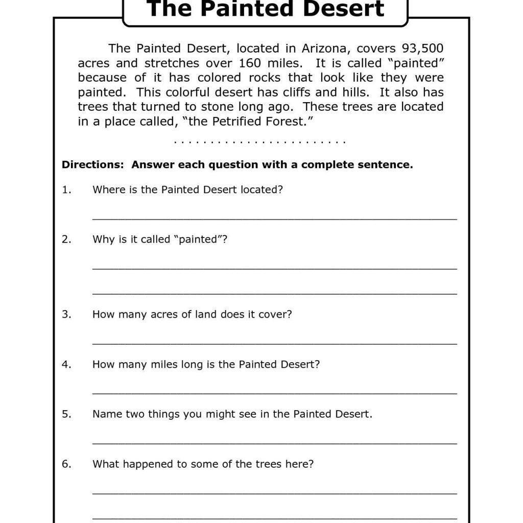 Worksheet Free Printable Reading Comprehension Worksheets