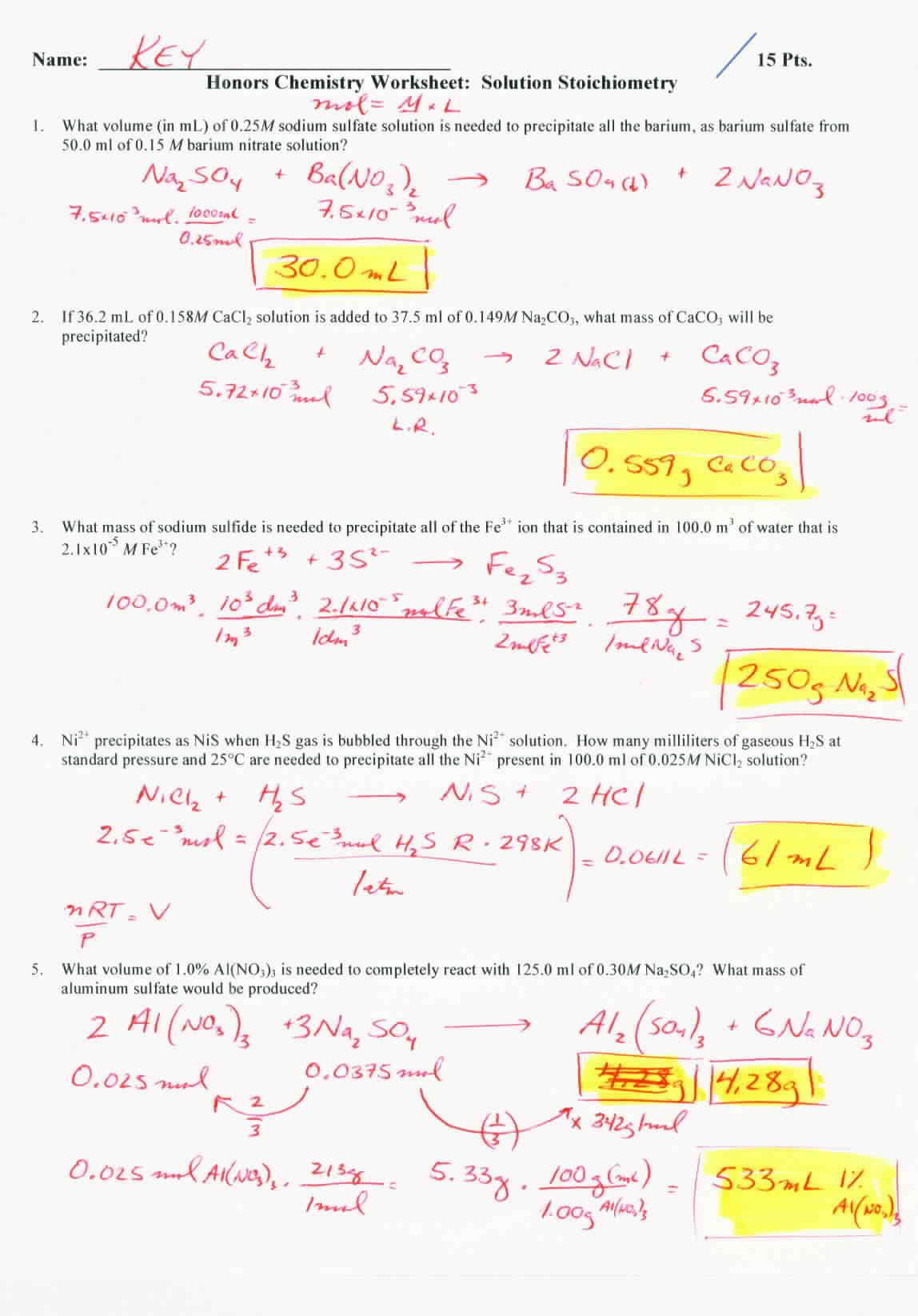 Worksheet Gas Stoichiometry Worksheet Ideal Gas Law