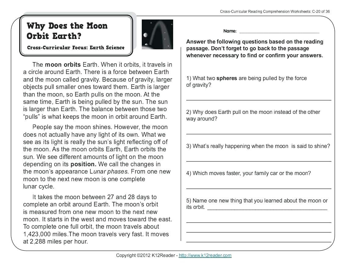 6th Grade Reading Comprehension Worksheets