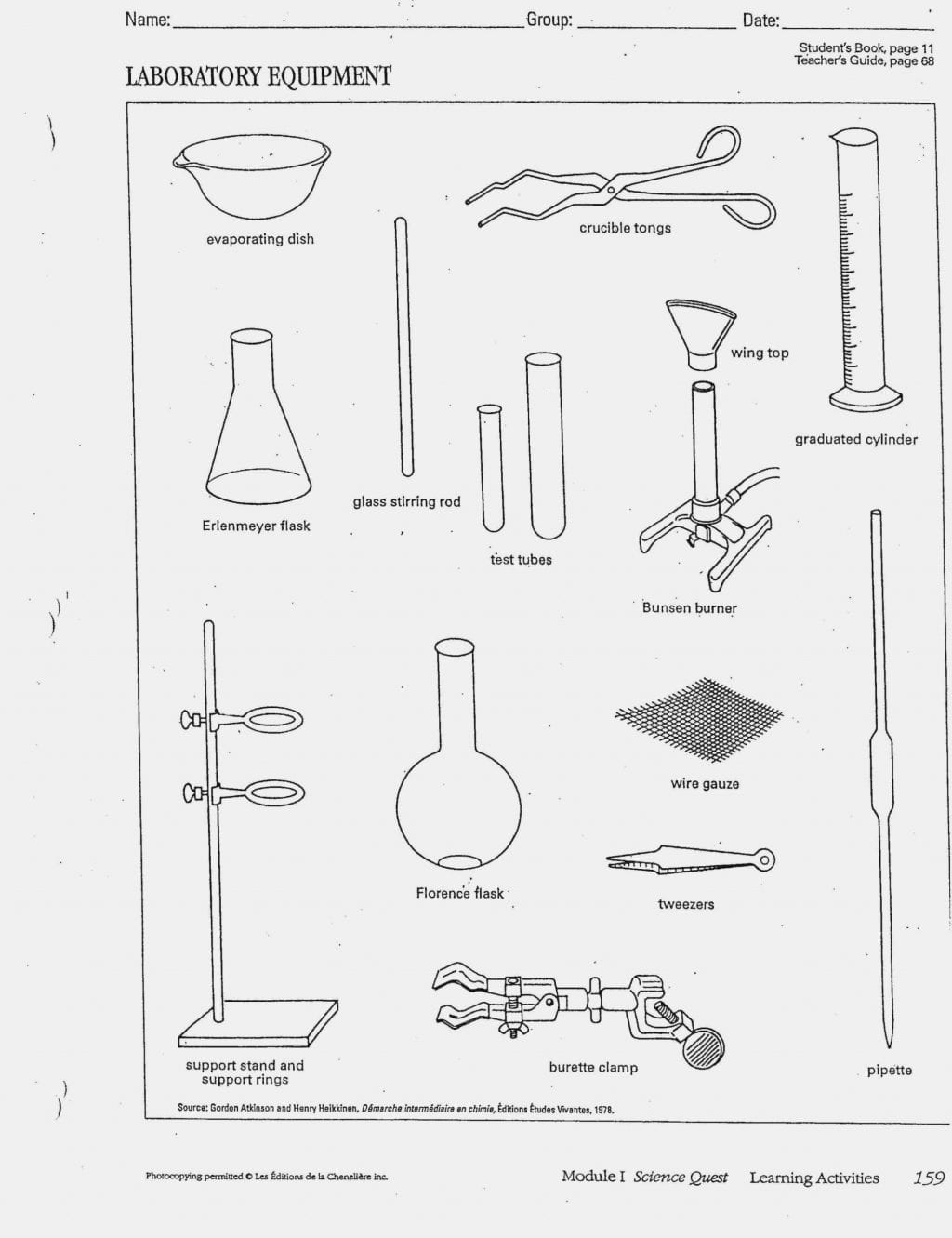 Middle School Lab Equipment Worksheet