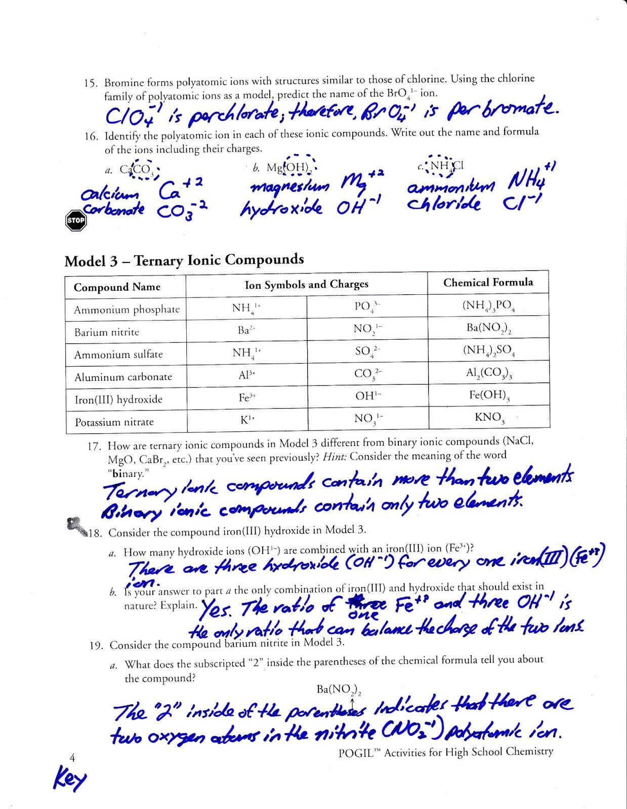 Worksheet Naming Ionic Compounds Worksheet Answer Key