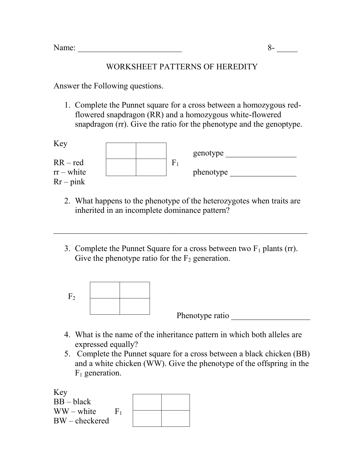 Patterns Of Inheritance Worksheet