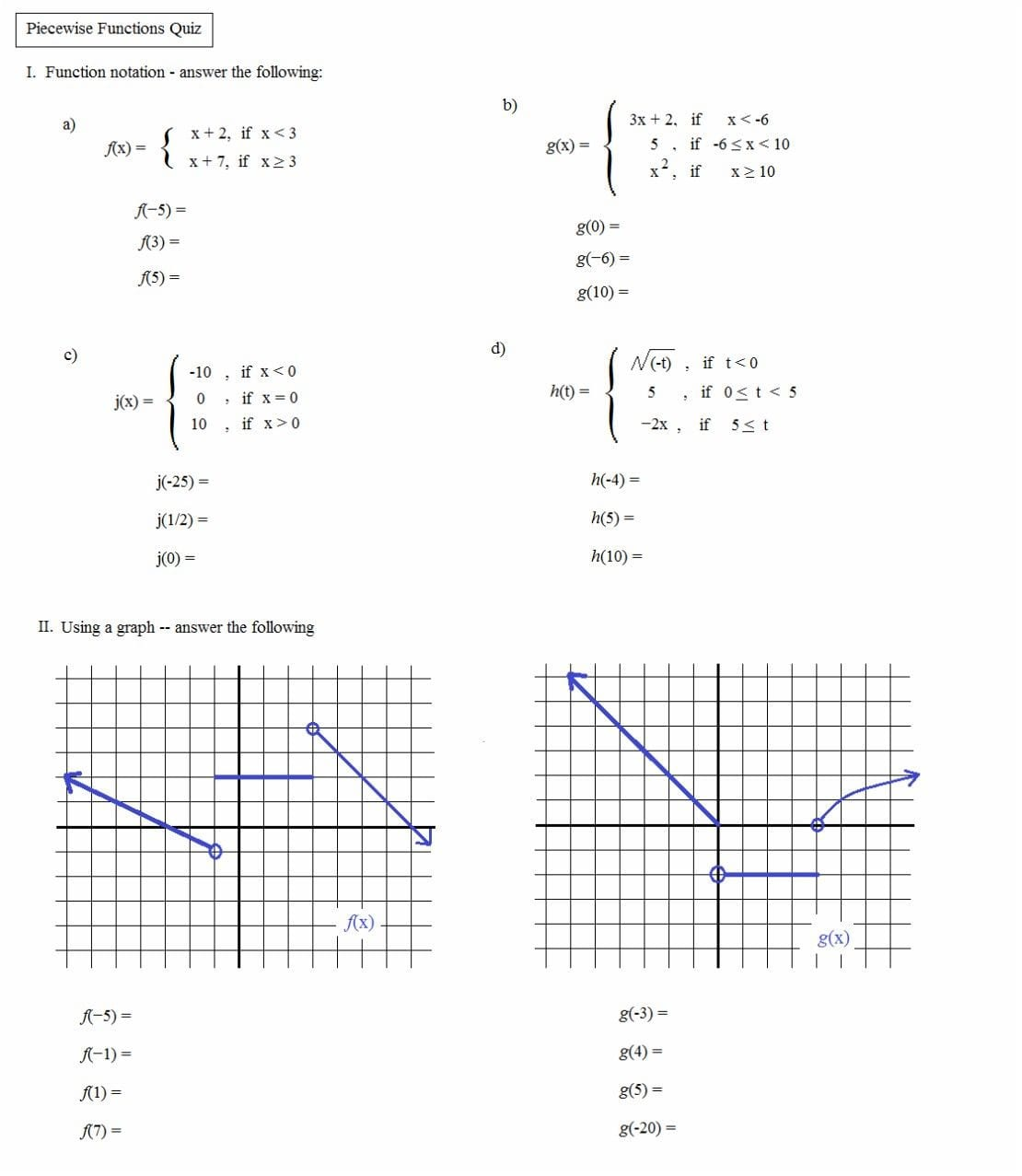 Worksheet Piecewise Functions Algebra 2 Answers
