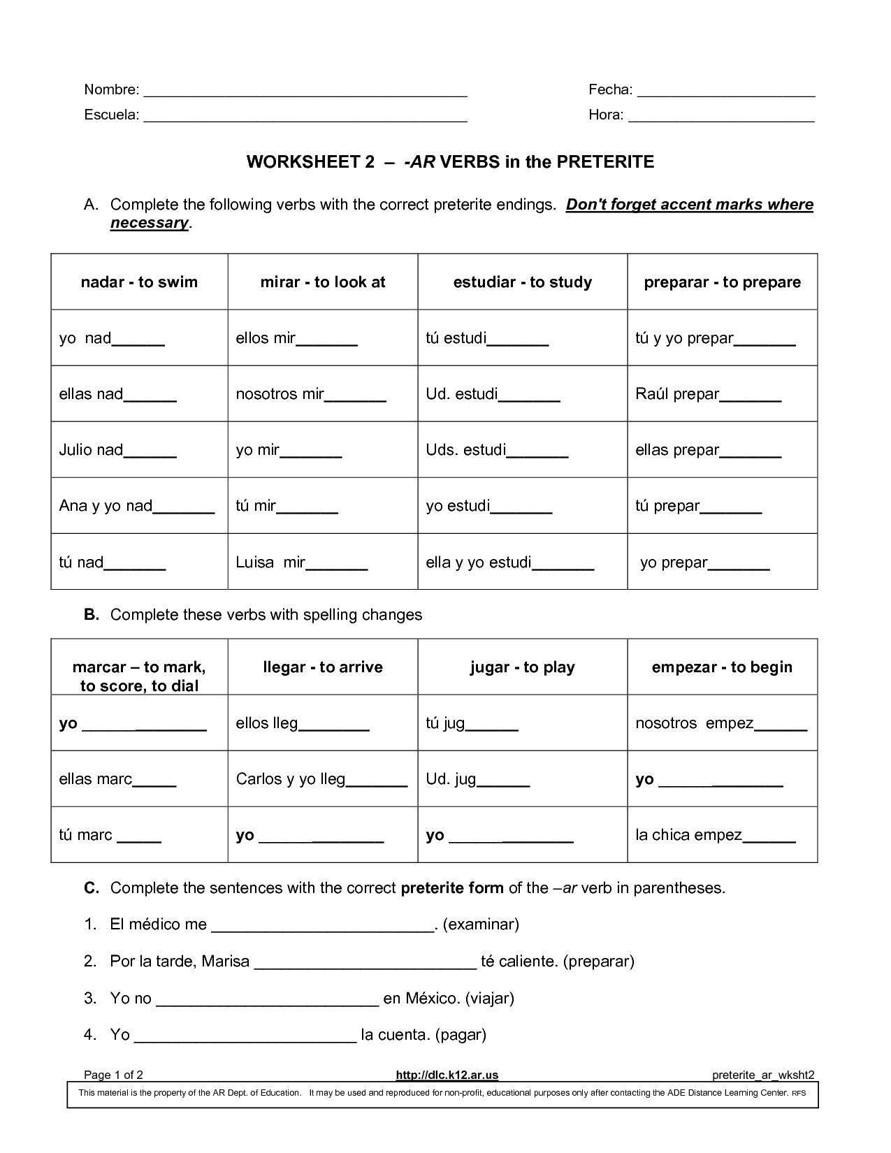 Worksheet Preterite Tense