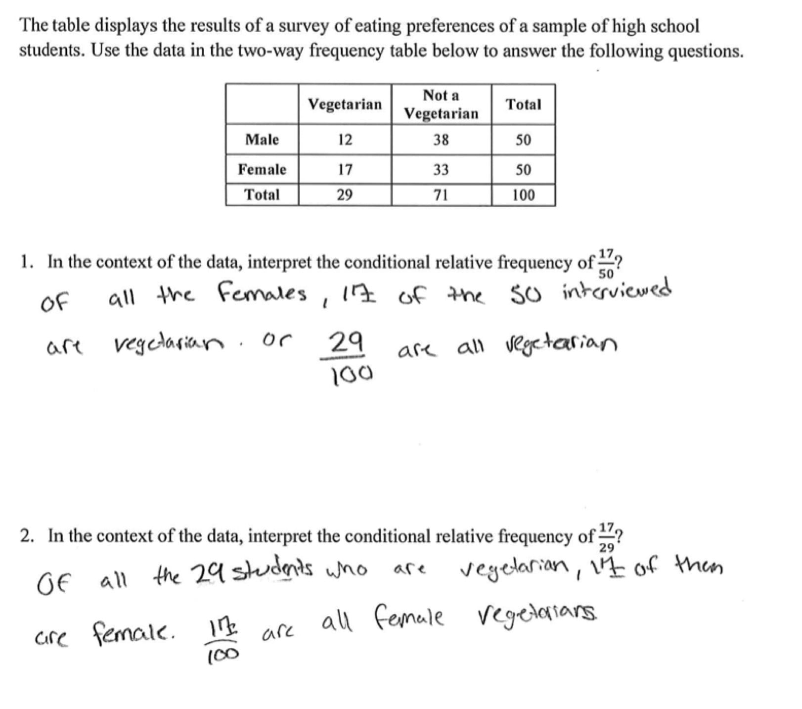 Two Way Tables And Relative Frequency Worksheet Answers