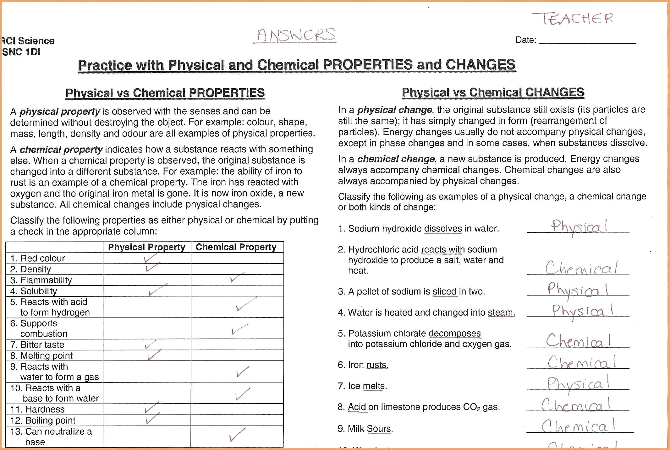 Worksheets Physical And Chemical Properties Changes Vs