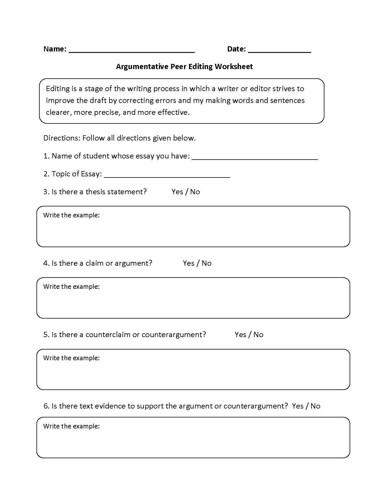 Paragraph Editing Worksheets