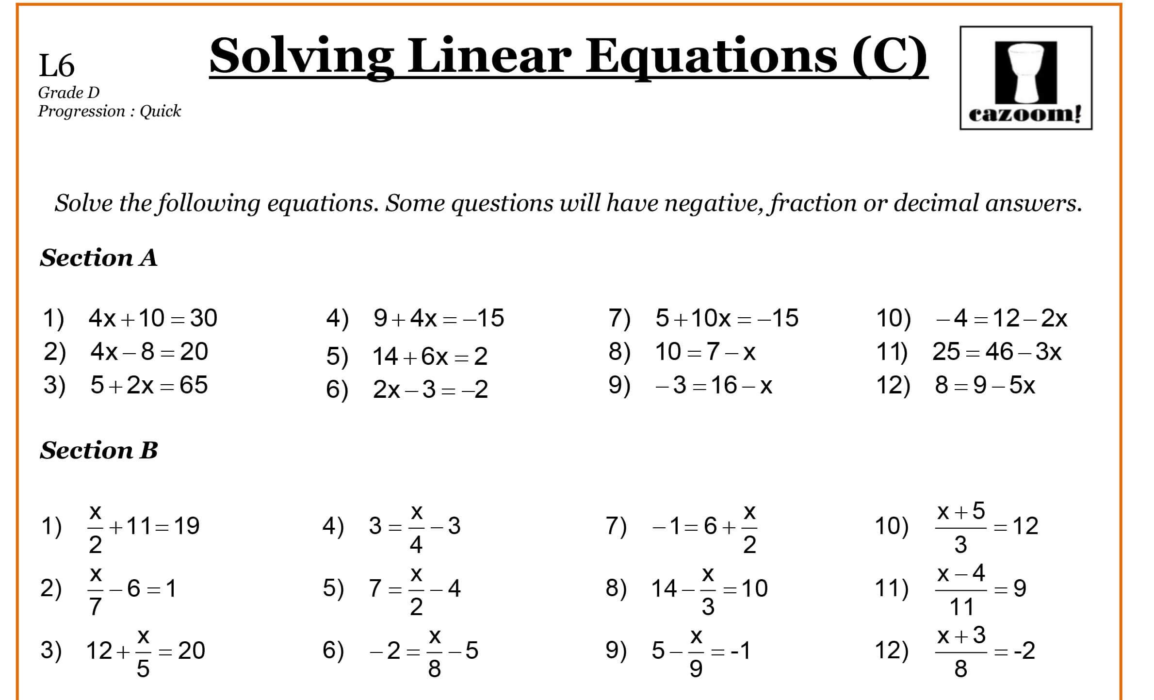 Year 8 Algebra Worksheets