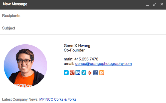 social media portraits can be used in your email signature file too