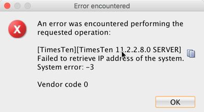 TimesTen error 2