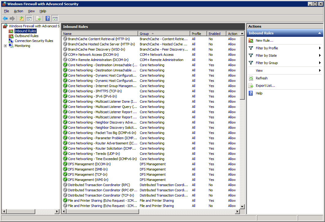 How to open firewall ports on Windows Server 2008 R2 Enterprise - Inbound Rule