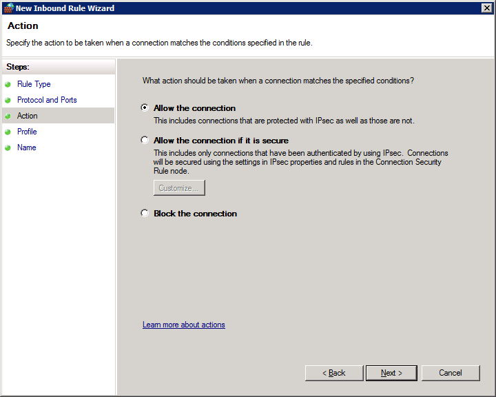 How to open firewall ports on Windows Server 2008 R2 Enterprise - Action