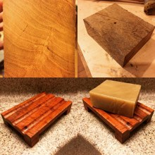 Solid block of cherry prior to milling into final soap tray