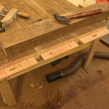 Cutting and drilling the tenons for the breadboard ends