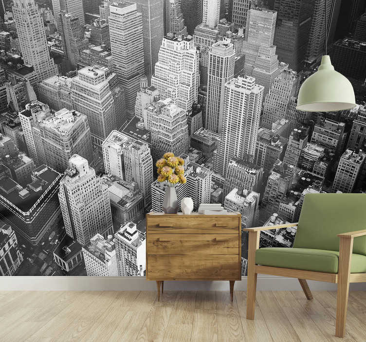 La collezione comprende motivi eleganti e creativi che si adattano a qualsiasi s leggi di più. City Wall Mural New York Aerial Black And White Tenstickers