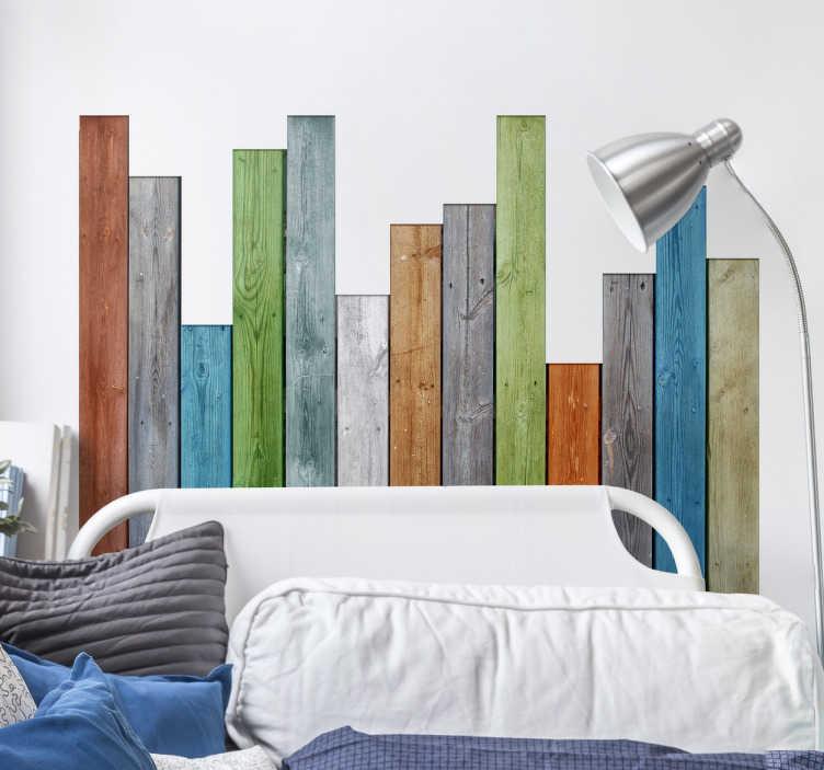 Decorare la parete dietro al letto ecco 20 idee creative a. Adesivo Testiera Letto Listelli Legno Colorati Tenstickers
