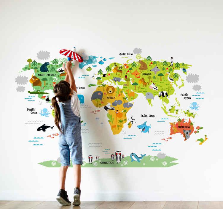 sticker enfant carte du monde animaux