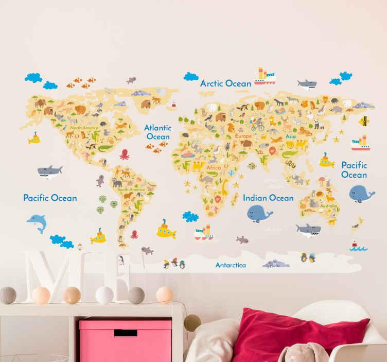 sticker carte du monde animaux continents