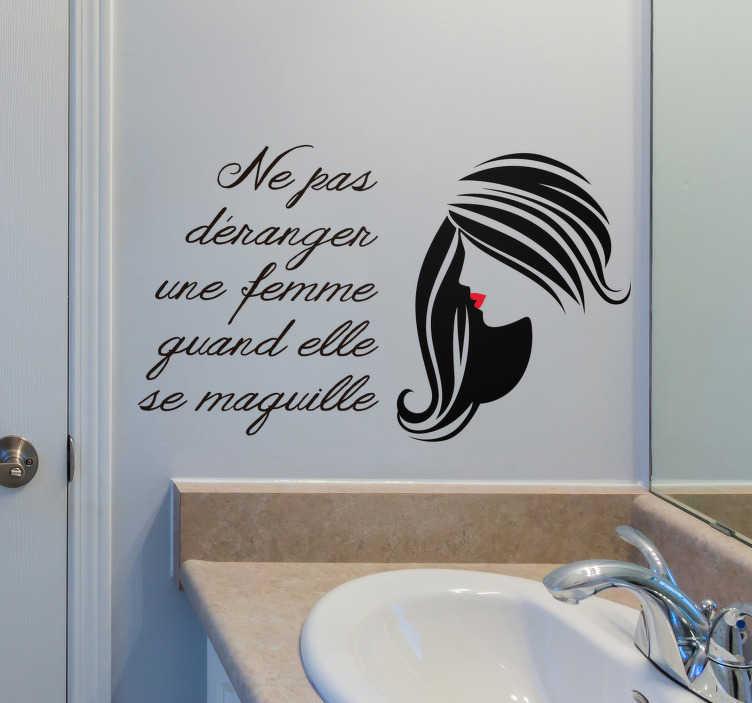 sticker salle de bain citation maquillage