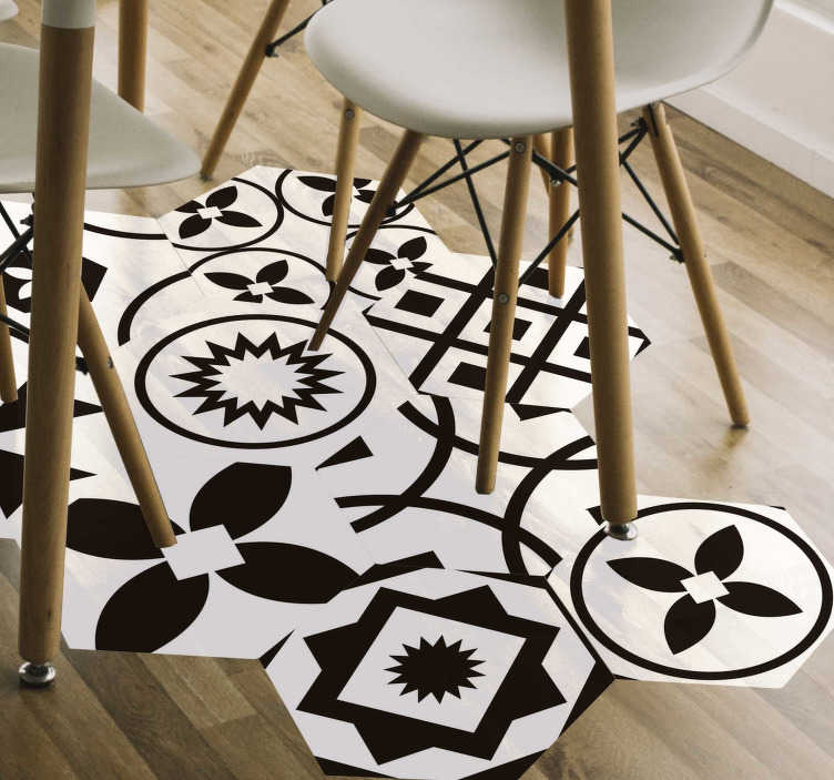 black and white hexagons vinyl sticker floor tile
