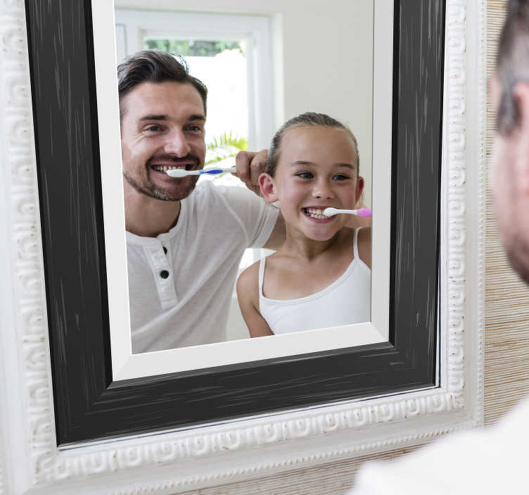 sticker miroir cadre noir
