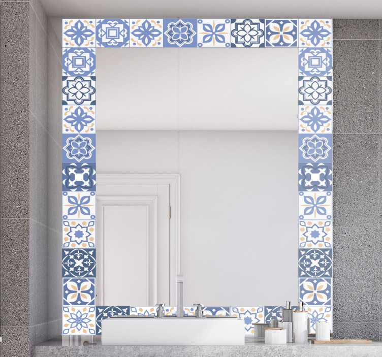 tiles frame mirror wall decal