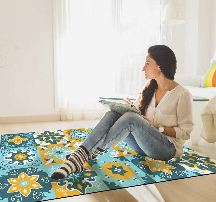 https fr tenstickers canada com tapis vinyle tapis de vinyle chambre a coucher carreaux jaune et bleu clair r042