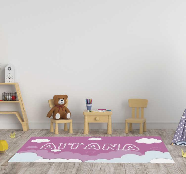 tapis vinyl personnalisable rose ciel bebes