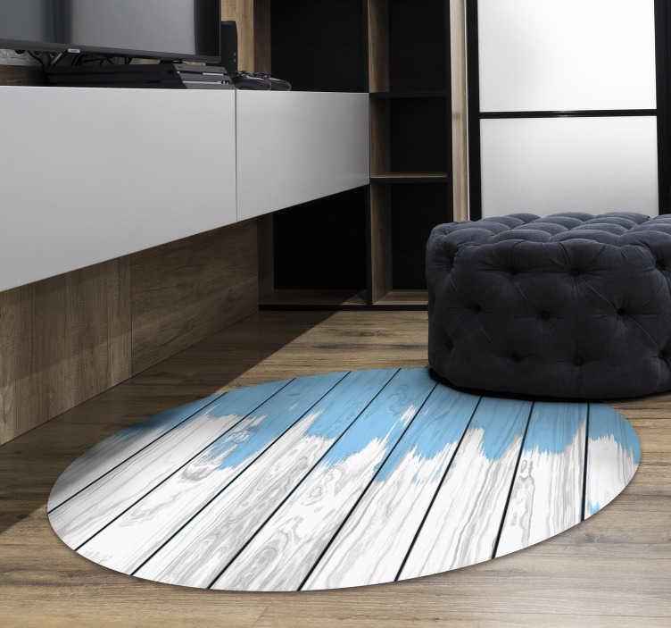 tapis vinyl blanc et bleu bois