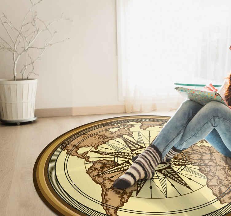 tapis sticker rond carte du monde vintage
