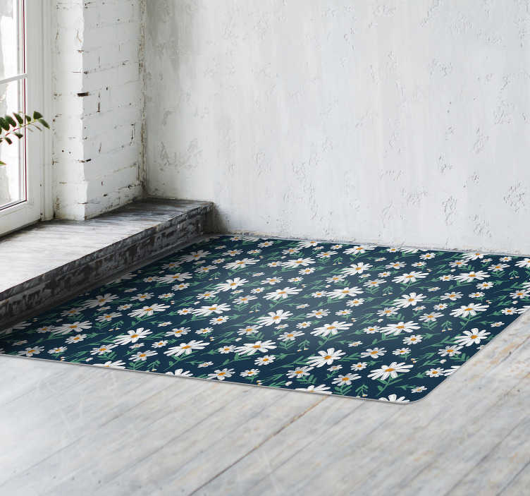tapis de salon 70 s daisy flower