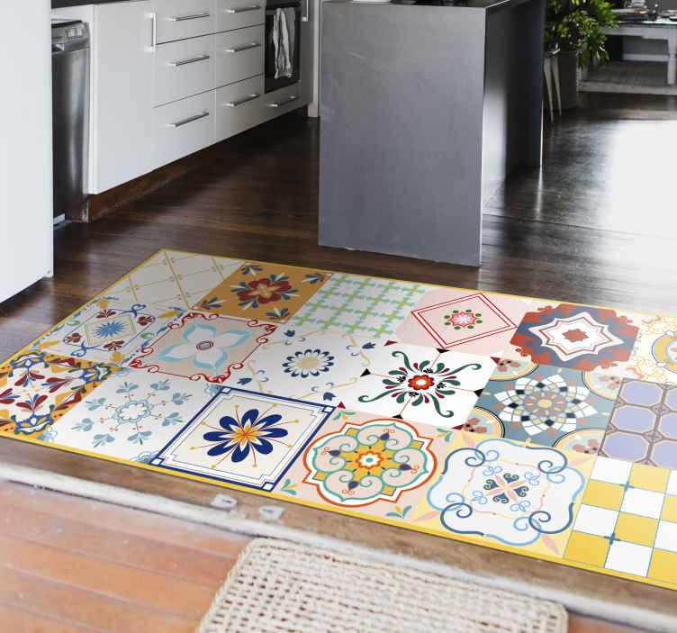 multiple colorful hidraulic pattern tile mat