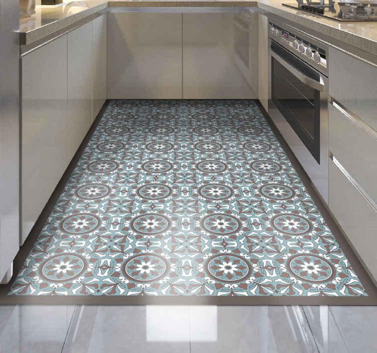 tapis vinyl carreaux de ciment turquoise arabe
