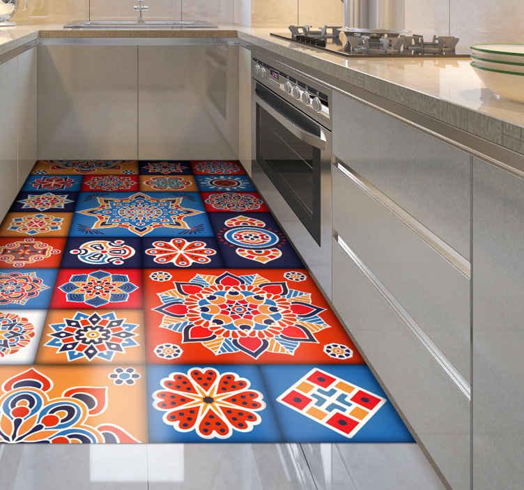 tapis cuisine carreaux floraux colores