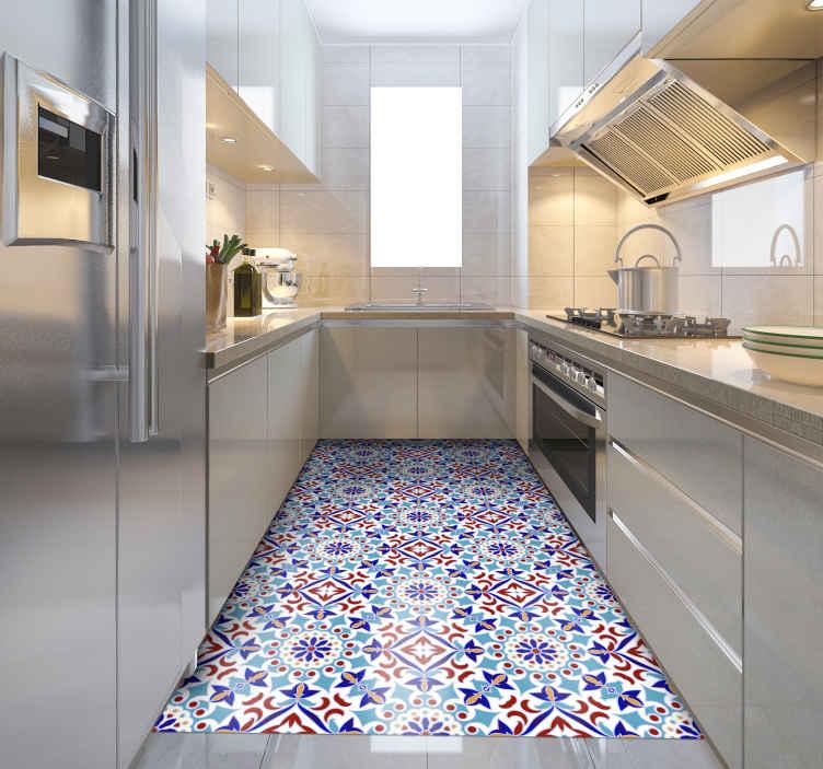 tapis cuisine sticker de carreaux bleu clair
