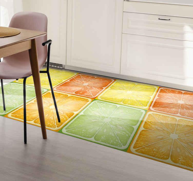 Colorful Citrus Texture Kitchen Floor Tiles Tenstickers