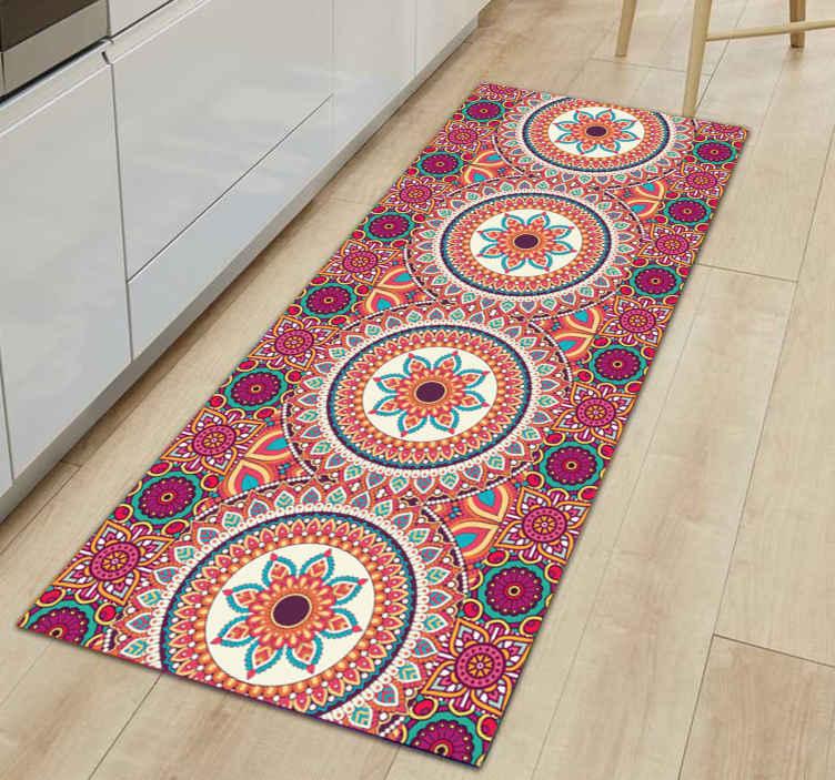 colourful mandala patchwork tile mat