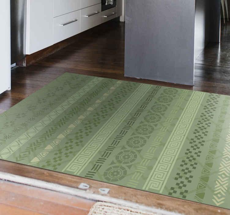 puzzle stamp effect on green mosaic vinyl flooring