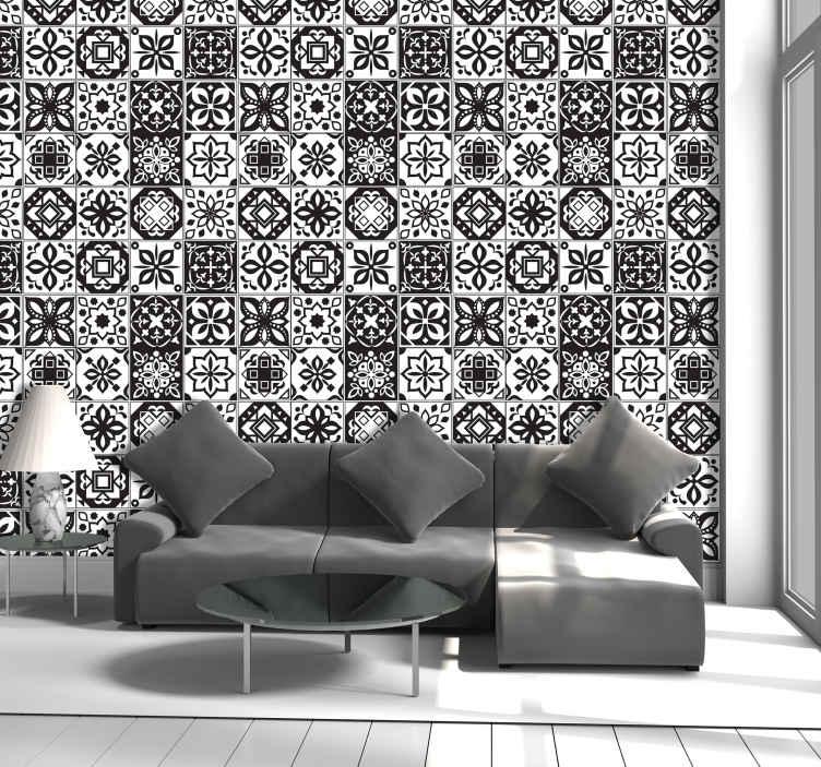 papier peint ornemental arabesque noire et blanche