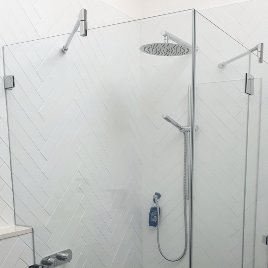 Bespoke Glass Shower Enclosure with cut out