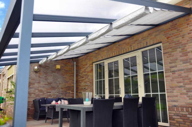 Overkapping Tuin Doek : Lamellendoek verandas 350 cm diep voor polycarbonaat dak den