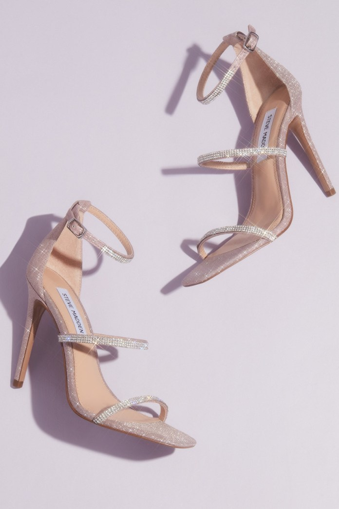 Crystal strap stiletto sandals from the Steve Madden x DB wedding shoes collection