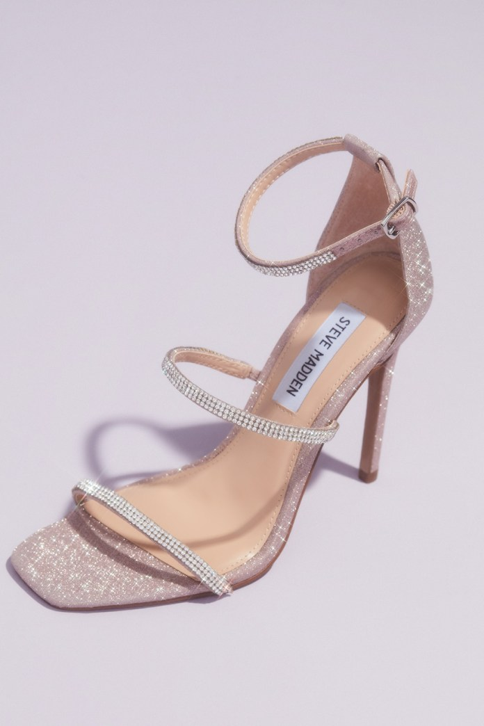 Detail of Crystal Strap Stiletto Sandals from Steve Madden x DB Wedding Shoes Collection