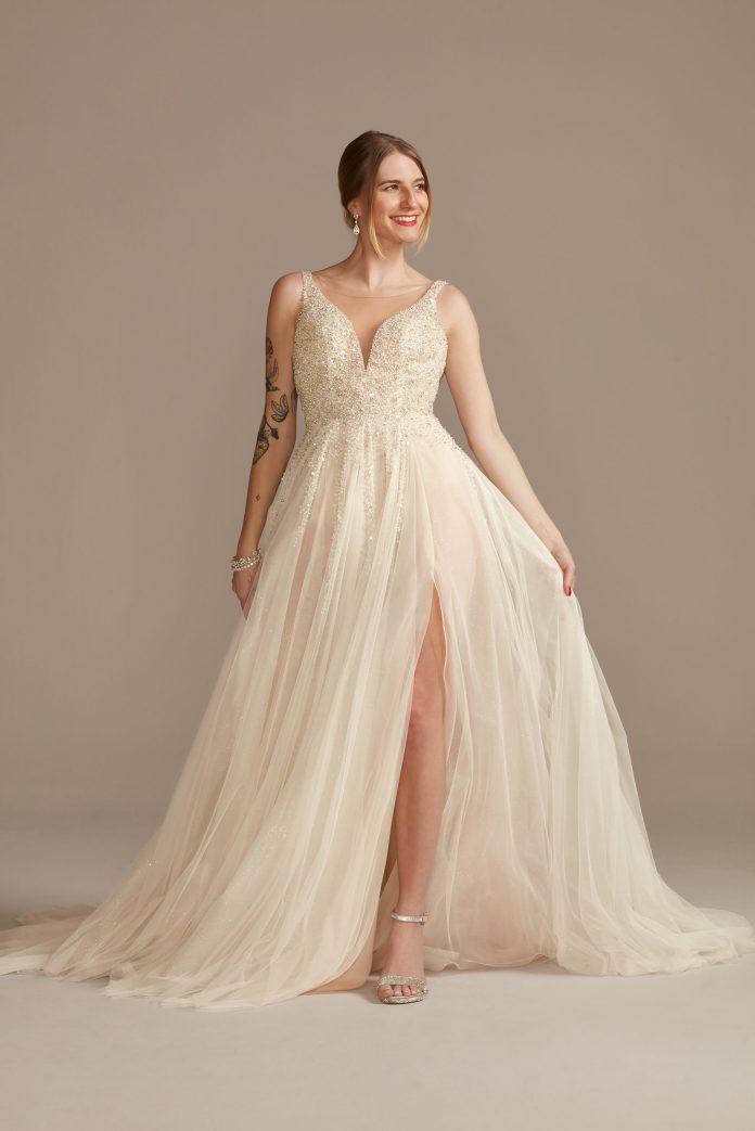 Bride Wears Beaded Plunge Illusion Bodysuit Wedding Dress