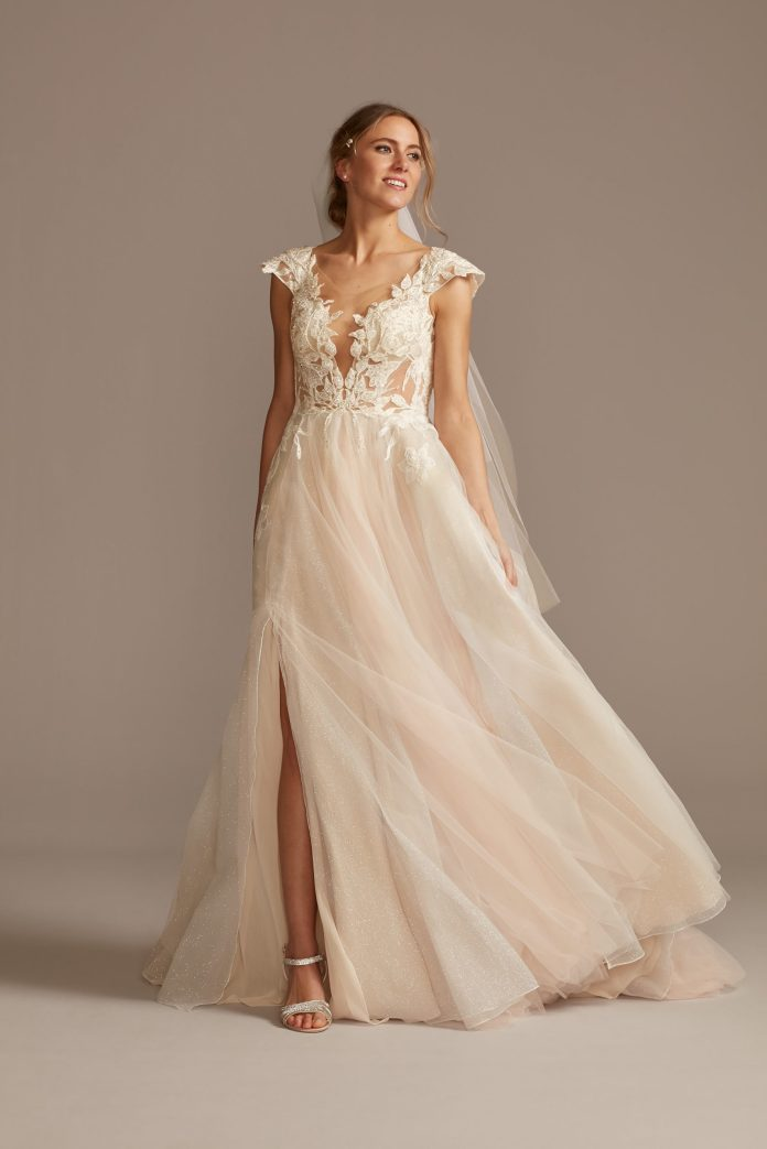 Bride Wears Ethereal Illusion Cap Sleeve Lace Appliqued Wedding Dress