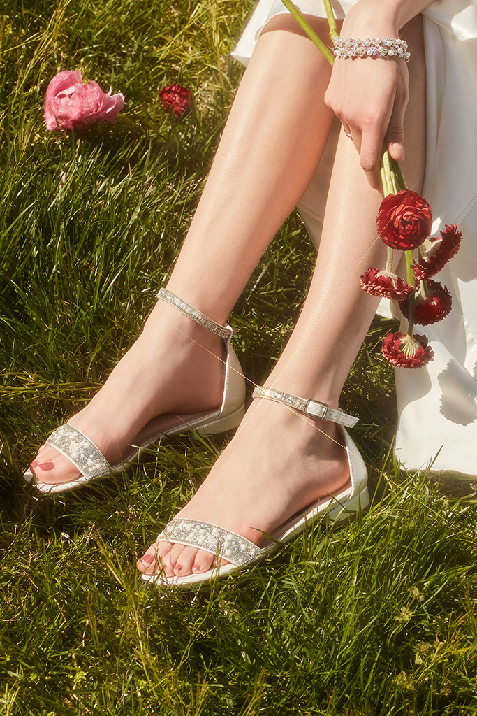 Shimmering pair of shoes for brides on their wedding day