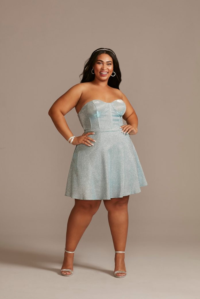 light blue glitter homecoming dress with corset details